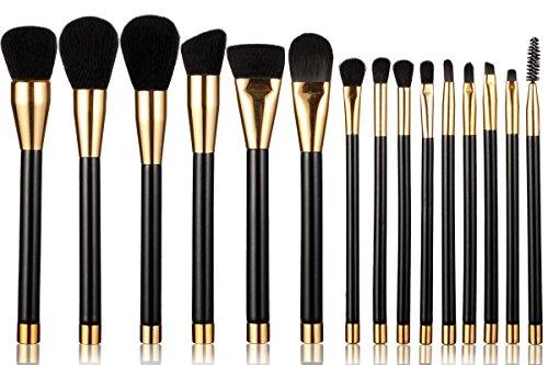 Neverland Lot 15 pinceaux de maquillage professionnel de beauté brosse à sourcils poudre visage fond de teint Eyeliner de maquillage outil kit Noir