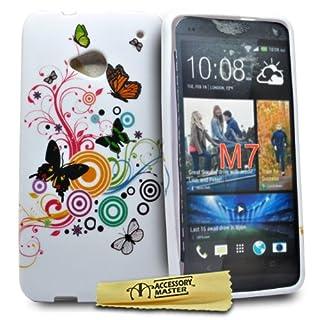 Accessory Master Multi Schmetterling Blumen Design Silikon Schutzhülle für HTC One M7
