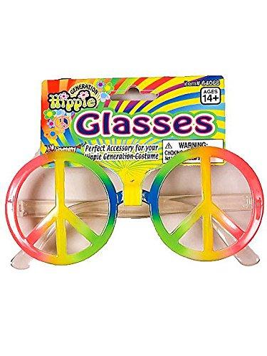 Regenbogen Peace Brille Zeichen (Forum Novelties Inc. 60er 70er Jahre Hippie Regenbogen Peace-Zeichen Kostüm)