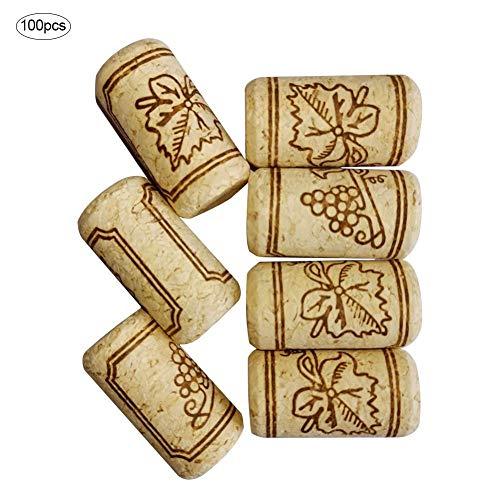 Gorgeousy 100PCS Bouchons de vin, Bouchons réutilisables de scellage de Bouchons de vin Rouges de Bouchons de vin, Bouchons en Vrac, Bouchons de chêne Naturel pour Bouteilles de vin