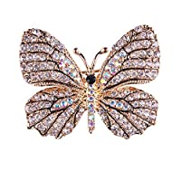MSYOU Women Brooch Alloy Creative Crystal Butterfly Style Knit Shirt Scarf Shawl Brooch Accessories Female Birthday Gift Jewelry