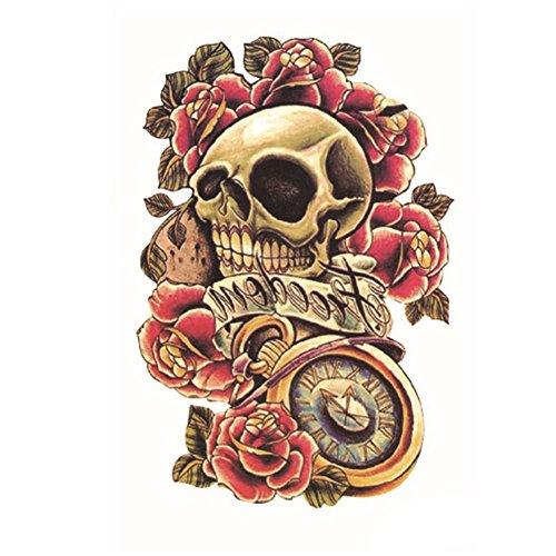 (EROSPA® Tattoo-Bogen temporär - Schädel / Totenkopf / Uhr / Rosen - 12 x 19 cm)