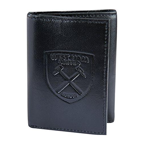 West Ham United FC officiel - Portefeuille en cuir - blason embossé - argent/voyage