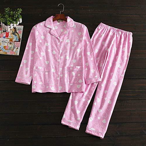 HAOLIEQUAN Spring Autumn Women Pyjamas Cartoon Printed Cute Pijama Pattern Pajamas 2-Piece Set Thin Sleepwear Long Sleeve Nightgown,Hfa5122-Pk,L