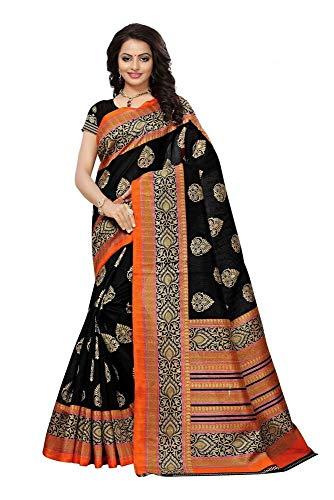 Sari Orange Indien Kostüm - Indian Bollywood Wedding Saree indisch Ethnic Hochzeit Sari New Kleid Damen Casual Tuch Birthday Crop top mädchen Cotton Silk Women Plain Traditional Party wear Readymade Kostüm (black2)