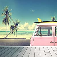 VW Camper Van Surf-Adesivo da parete, motivo: carta da parati, spiaggia, palme, stile Vintage, X Large 1900mm x 1488mm