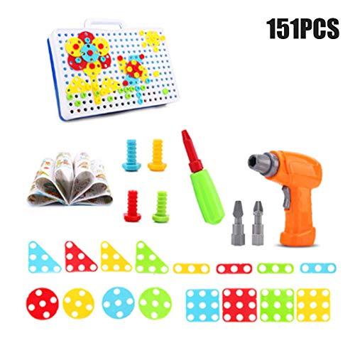 Leobtain 237 Stücke Kit Kreative Bohrmaschine Schraube Puzzle Lernen Spielzeug 2D 3D Modelle Blöcke Montage DIY Stiel Pädagogisches BAU Set für Kinder Geschenk
