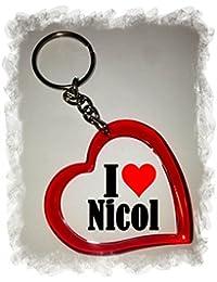"""EXCLUSIVO: Llavero del corazón """"I Love Nicol"""" , una gran idea para un regalo para su pareja, familiares y muchos más! - socios remolques, encantos encantos mochila, bolso, encantos del amor, te, amigos, amantes del amor, accesorio, Amo, Made in Germany."""