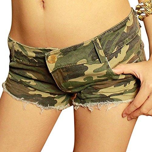 Donne Jeans vita bassa Hot pants elastici pantaloncini Denim (