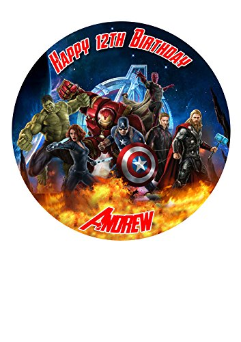 (The Avengers Marvel Superheros Personalisierte Kuchen Topper Puderzucker Papier 19,1cm Bild 2)