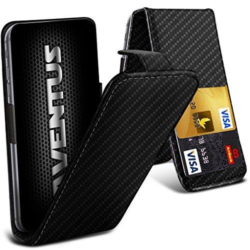 Aventus (Carbon Fibre) Yezz Andy 5EI Universal Case Etui Housse Flip Spring Clamp Premium Pu Cuir Avec Caméra Slide et Titulaire De La Carte De La Fente