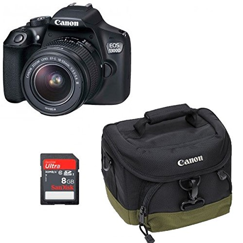 Canon EOS 1300D 18-55mm III - BOLSA 100EG - Tarjeta SD 8GB - Paño limpieza Kit Get Started