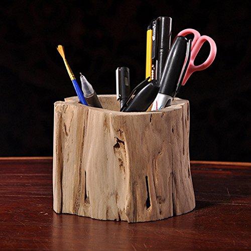 RAING Pen Pot, Artigianato in Legno Creativo Legno primario Materiale da Ufficio Vuoto Originale Contenitore Penna Multifunzionale Ecologico