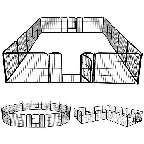 Yaheetech Welpenlaufstall Freigehege Welpenzaun Gehege Laufstall mit 2 Türen, aus 16 Panelen je Panel 80 x 60 cm Outdoor oder Indoor