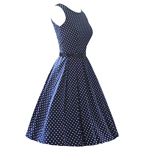 LUOUSE Robes Vintage 1950s Audrey Hepburn robe de soirée cocktail, bal style années 50 Rockabilly Swing V095-DotNavyBlue