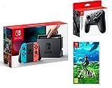 Nintendo Switch Konsole Neon-Rot/Neon-Blau + The Legend of Zelda: Breath of the Wild + Nintendo Switch Pro Controller