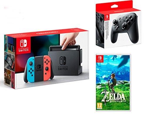 Nintendo Switch consola 32gb azul/rojo Neón + The Legend of Zelda: Breath of the Wild + Nintendo Switch Pro Controller