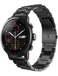 Malloom Correa de Acero Inoxidable Reloj Banda Hebilla de Metal para HUAMI Amazfit Stratos 2 (Negro)