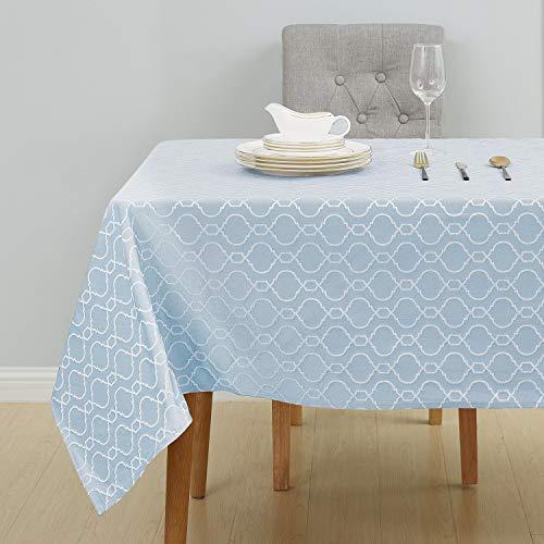 Deconovo Tischdecke Tischwäsche Wasserabweisend Tischtücher Lotuseffekt 140x200 cm Marokko Himmelblau
