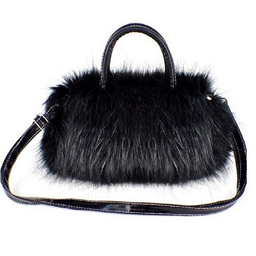 Demiawaking borsa a tracolla delle donne borsa messenger di pelliccia carina borsetta per ragazza (nero)