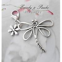 1 Charm Libelle Blume Karabiner Anhänger