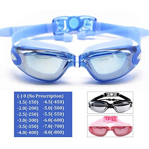 Hersvin Kurzsichtig Schwimmbrillen (0 bis -800) Kurzsichtigkeit UV400 Anti-UV Anti Nebel Sehstärke Schutzbrille mit Abnehmbare Nasenbrücke für Erwachsene Männer Frauen Kinder (Blau, -4.5)