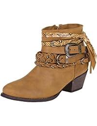 Fashion Stiefelette Damen Schuhe Gefutterte Boots 5138 Schwarz 36