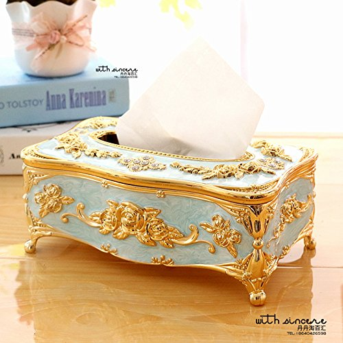 COLLECTOR Tessuto acrilico scatola libro scatola fashion hotel a tovagliolo grande scatola,Oro blu - Libro Blu Tovagliolo