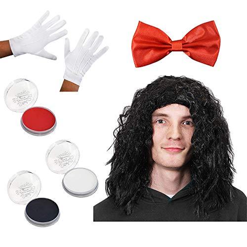 ILOVEFANCYDRESS Horror MARIONETTEN Masken Set - Maske, Schwarze PERÜCKE,ROTE Fliege UND WEIßE Handschuhe UND Make UP (Kostüme Halloween Uk Saw)