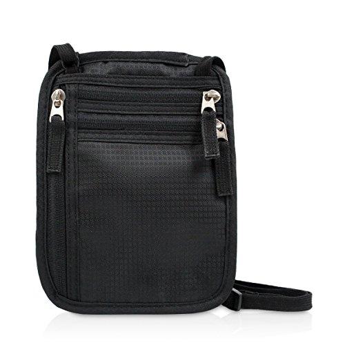 Bolso de viaje para el cuello porta pasaportes de viaje con bloqueo de RFID - Organizador con 7 bolsillos