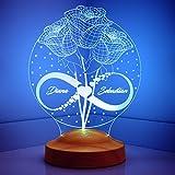 Sentidos Valentinstag Geschenk Nachttischlampe Personalisierte Geschenke 3D Led Lampe, Wunschtext, Schlummerlicht, Farbwechsel Dekor Lampe - Sevgi Lambasi (Rosen und Unendlichkeit)