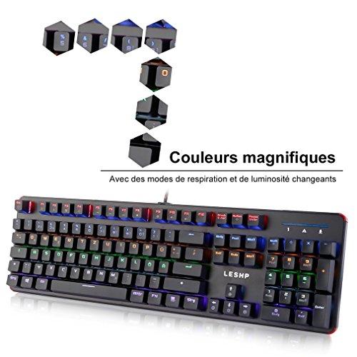 Mechanische Tastatur QWERTZ Deutsch, Regenbogen LED Hintergrundbeleuchtung USB Wired Gaming Keyboard Beleuchtet 50 Millionen Mal schalten Leben Aluminium Basis ABS Keycap 6 Farben 105 Tasten Schwarz