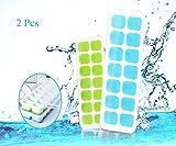 qingshe Cubito de hielo bandeja, LFGB certificado silicona Cubito de hielo bandeja Moldes con tapa antigoteo, mejor para agua, cócteles y otras bebidas (2pcs, verde + azul)