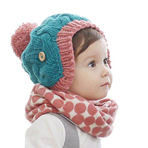 Babybekleidung Schals Longra neue Herbst Winter Kinder Kragen Baby Schal Boys und Girls cartoon Kids O ring Kind Hals Schals( 40*40cm, 2-10 years) (RED)