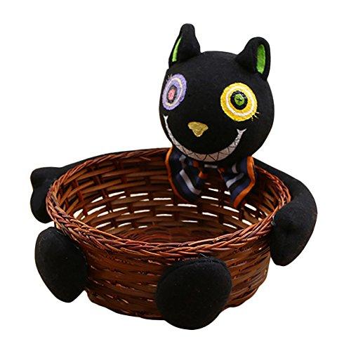 Zantec Kinder Süßigkeit Tasche Rattan Korb Eimer Kürbis Wolf Plüsch Puppe Trimmen Halloween Urlaub Party (Clown Kostüme Beängstigend Toten)