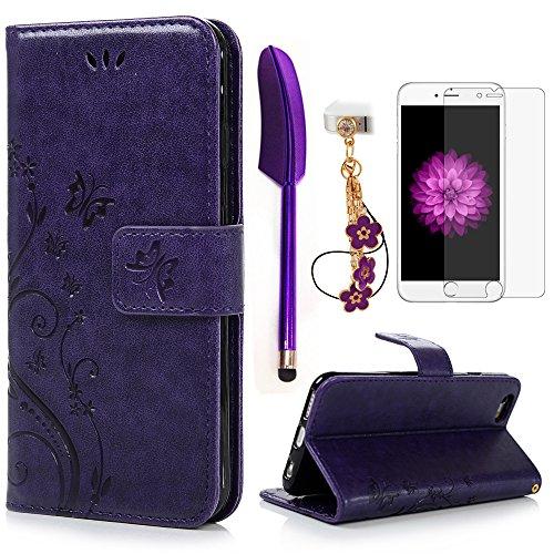 iPhone 6 / 6S Hülle (4,7 Zoll) Wallet Case Flip Hülle YOKIRIN Schmetterling Blumen Muster Schutzhülle PU Leder Brieftasche Ledertasche im Bookstyle für iPhone 6 6S Tasche Lila