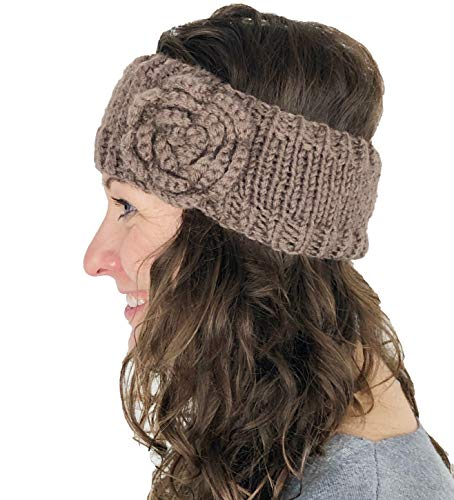 Pamper Yourself Now Braun Wolle maschinenStrick StirnBand mit Blume. Warme Winterstirnband. (Brown woollen machine knitted headband with flower. Warm winter headband)