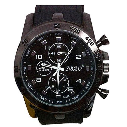 DAY.LIN Herrenuhr Armbanduhr Herren Sportuhr Rostfreier Stahl Luxus Sport analoger Quarz Modern Männer Mode Armbanduhr Shuangbao Silikon Sportuhr (A)