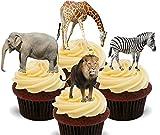 Made4You African Animals/Safari Tiere –, Stand-Up Wafer Cupcake-Dekoration, essbare Kuchen-Dekoration, 12er-Pack