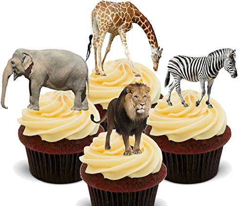 Made4You African Animals/Safari Tiere -, Stand-Up Wafer Cupcake-Dekoration, essbare Kuchen-Dekoration, 12er-Pack