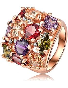 AnaZoz Schmuck Bunte Kristallring 18K Rose Gold Platte Frauen Ringe Dekoration 22 * 21Mm