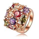 AnaZoz Joyería de Moda Colorido Anillo Cristal 18K Chapado en Oro Rosa Anillos de Mujer 22*21mm Tamaño 17