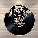 NIGHT BLACK Home Living Dog Theme Beste 3D Kunst Spiegel Wanduhr Schallplatte Wandaufkleber Dekoration für Zuhause, 1 Geschenk Dekorative Schallplatte Wanduhr für Weihnachten