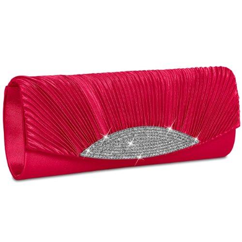 Damen-satin-clutch (CASPAR ausgefallene Damen Satin Clutch/Abendtasche mit Strassbesatz - viele Farben - TA289, Farbe:rot)