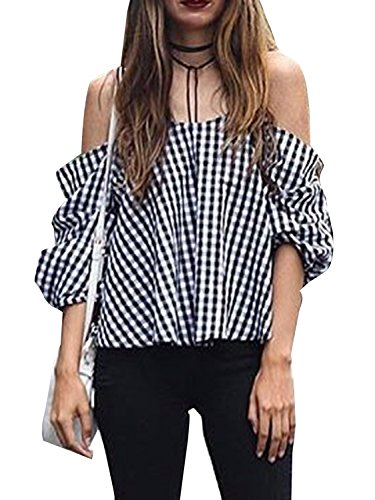 Simplee Apparel - Chemisier - Femme Black White Plaid