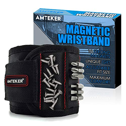 Amteker Magnetisches Armband - Geschenk für Männer oder Papa, Magnetarmband Handwerker mit 15 Kraftvollen Magneten, Coole Technik Gadgets für Männer, Kleine Geschenk für Freund, Handwerker Geschenke