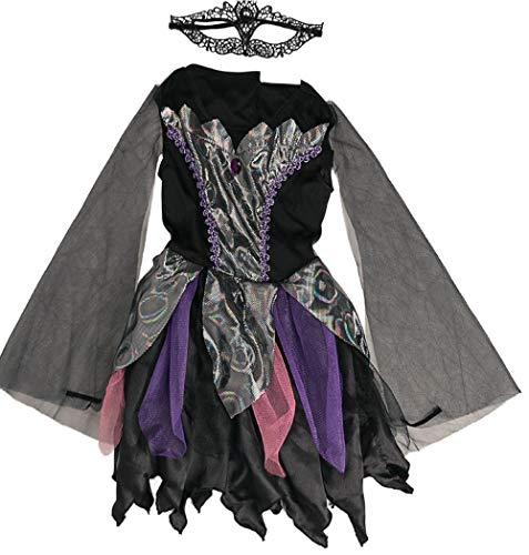 (holidaysuitcase Mädchen Halloween Kostüm Hexe Abiball Prinzessin - Schwarz, 134-140)