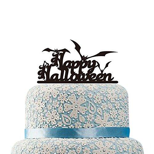 Topper Benutzerdefinierte Farbe Tortenaufsatz schwarz Fledermaus Tortenaufsatz Acryl Cupcake Topper Halloween ()