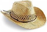 Cowboy Strohhut aus 100 % natürlichem Stroh Farbe Natur