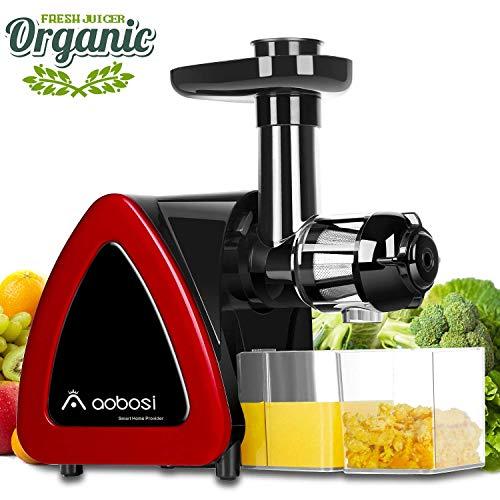 Licuadora Prensado en Frio,Aobosi Licuadora Frutas Verduras,Extractor de zumos con Función inversa,Motor Silencioso, fácil de limpiar con un cepillo extra